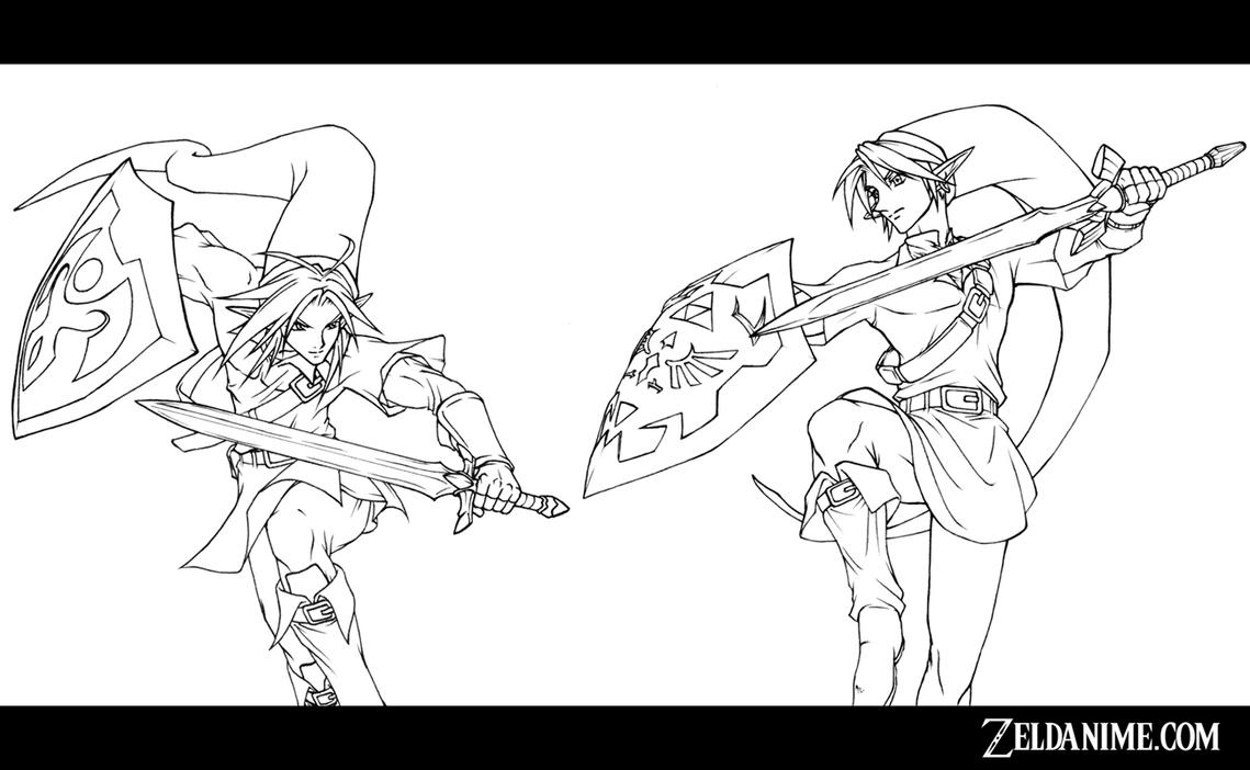 Line Art Zelda : Link vs line art by onichild on deviantart