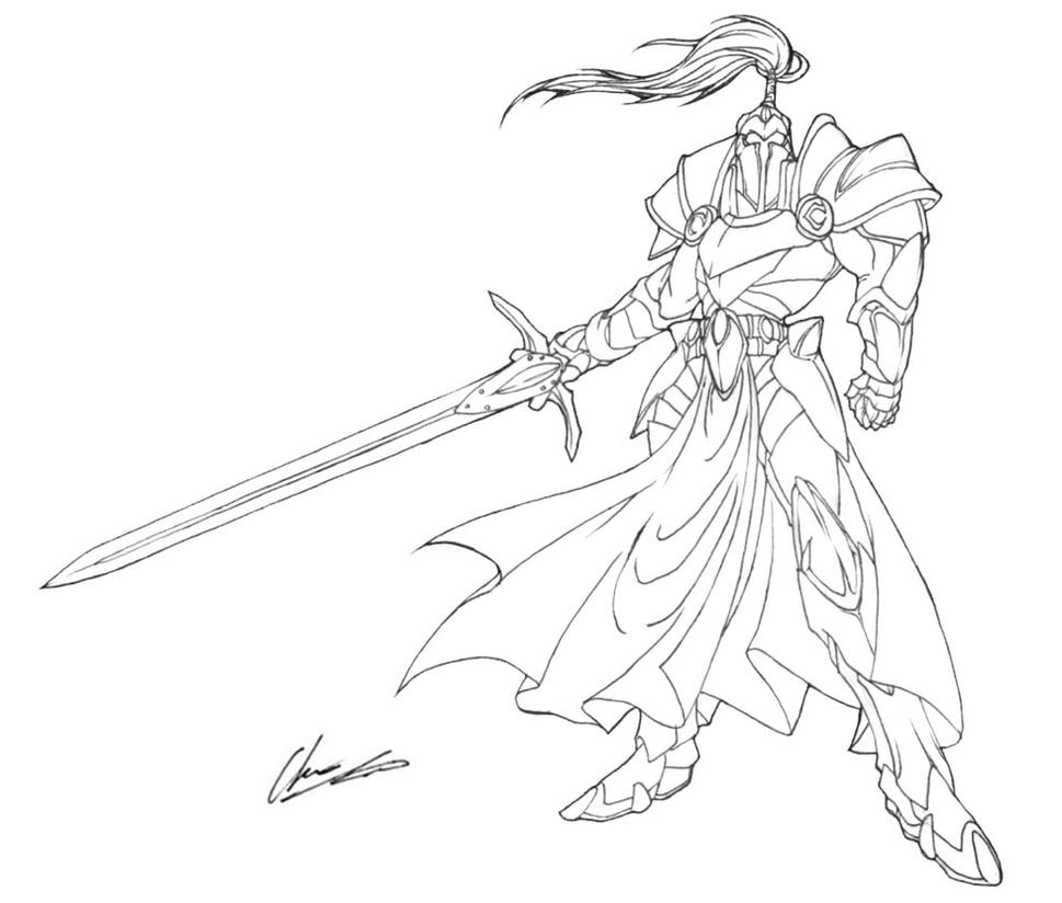 Line Drawing Knight : Knight lineart by onichild on deviantart