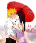 NaruHina: Kiss under the rain...