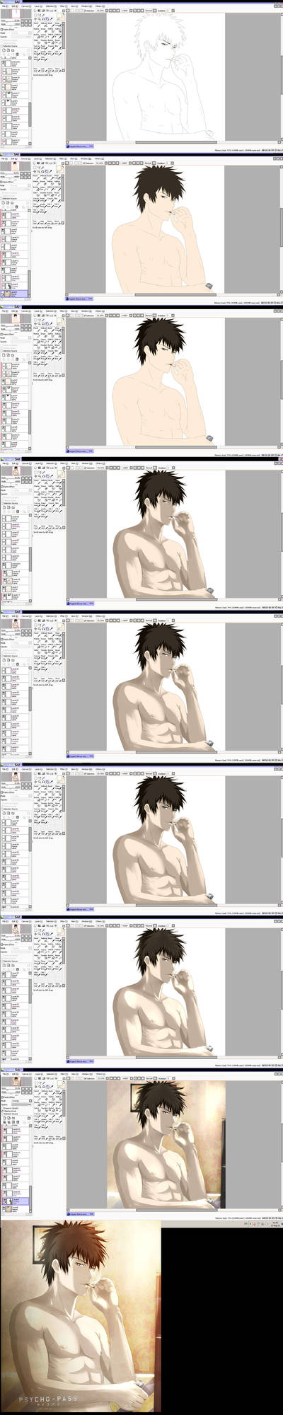 Psycho-pass: Picture process steps