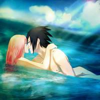 02 SasuSaku: In the sea