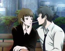 Psycho-pass 2: Kogami x Akane: The same bad habbit by Lesya7