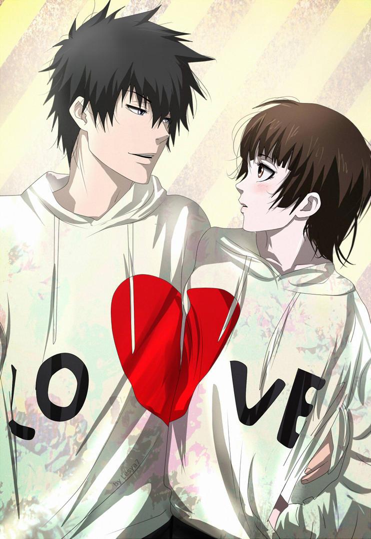 Psycho-pass: Kogami x Akane: Love hug by Lesya7