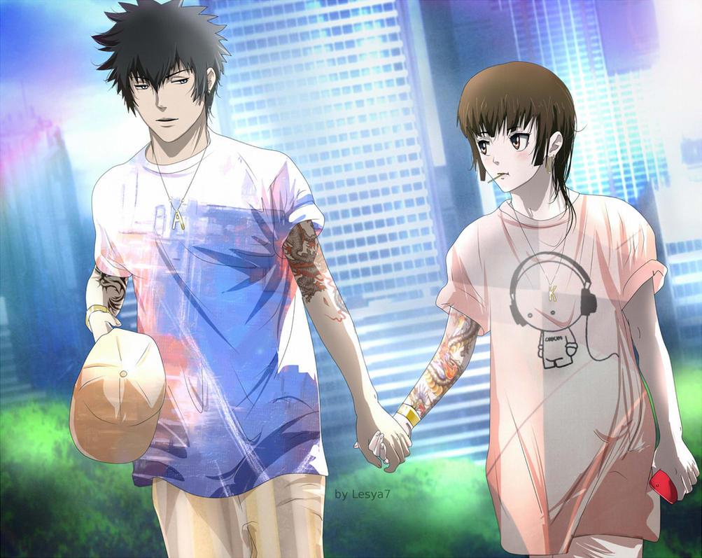 Psycho-pass: Kogami x Akane: Walking by Lesya7