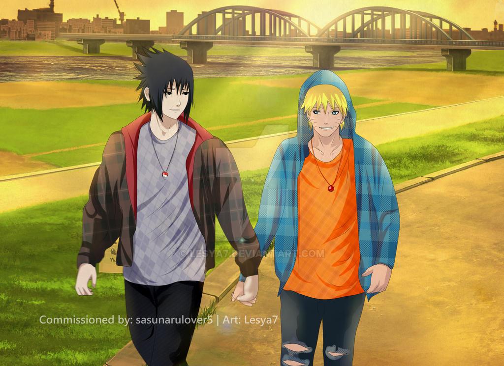 Commission: Sasuke x Naruto - Hold hands by Lesya7