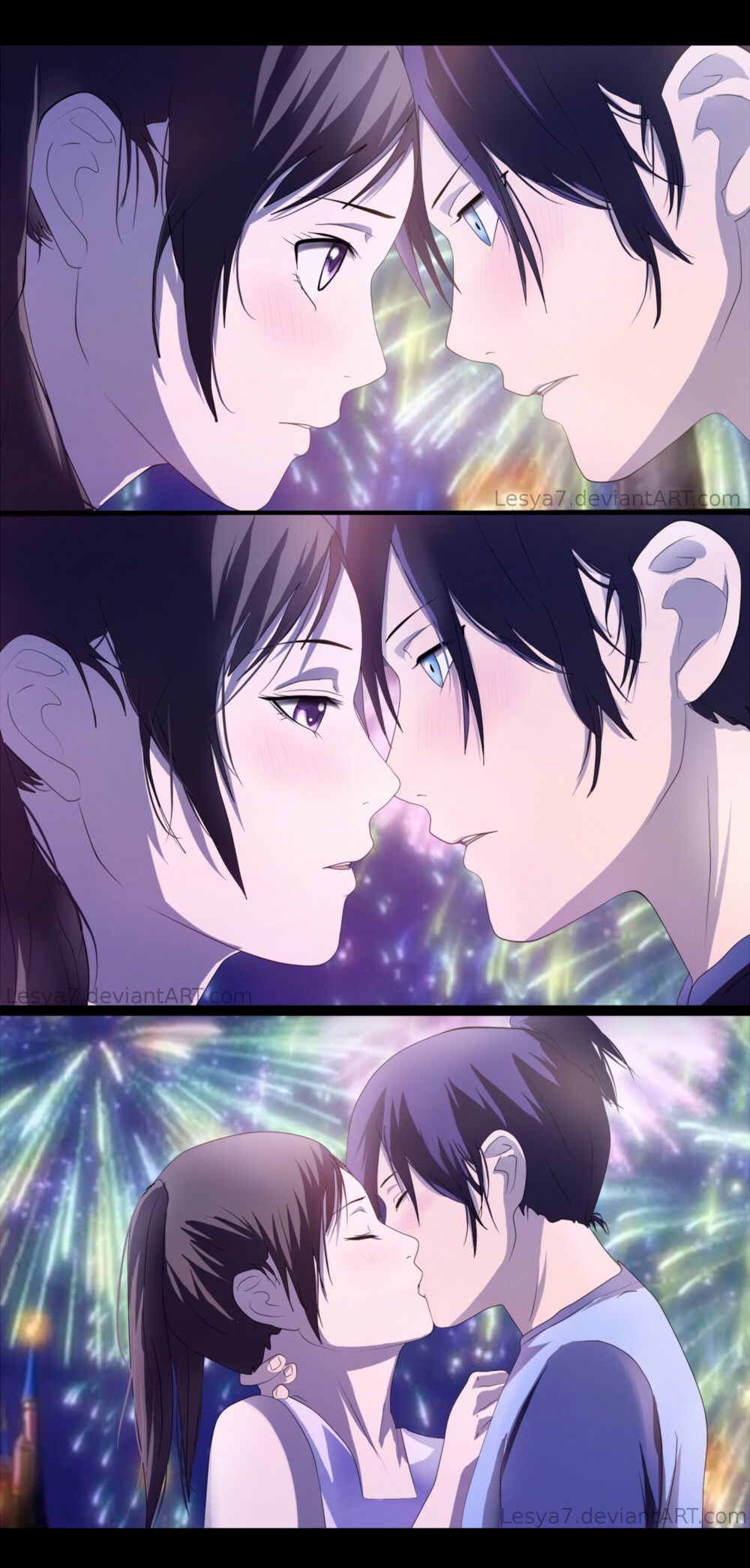 Noragami yato x hiyori kiss by lesya7 on deviantart
