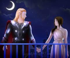 Marvel Commission:Thor x Eydis OC  Date on Midgard by Lesya7