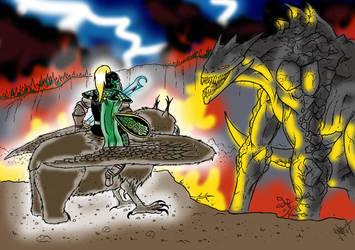 Lurtsi VS Rock dragon by Estia-fanclub