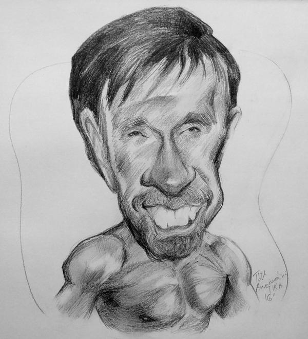 Chuck Norris pencil caricature by Mandala87