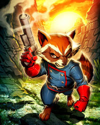 Rocket Raccoon Marvel's War of Heroes Card Game by edwinhuang