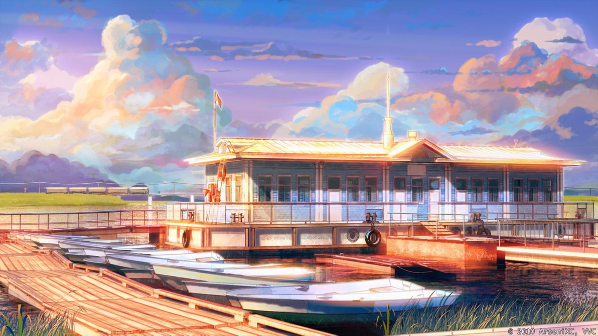 Boat station sunset by arsenixc