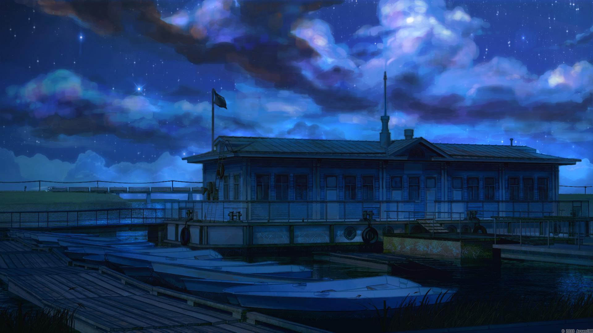 Boat station night by arsenixc
