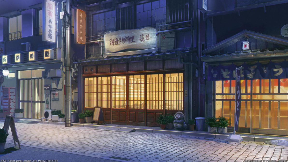 Restaurant street night by arsenixc