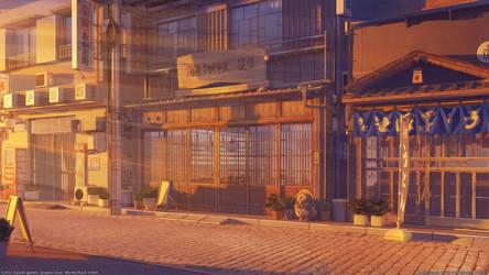 Restaurant street sunset by arsenixc