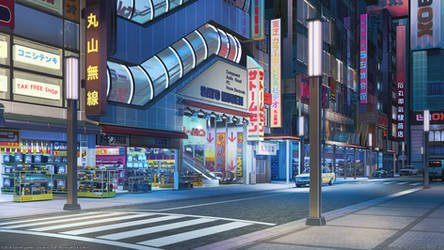 Akihabara South Exit night by arsenixc