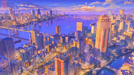 Modern Metropolis sunset