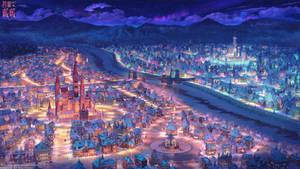 Two Queens cities night