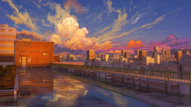 School Roof Sunset