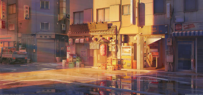 Japan street Sunset
