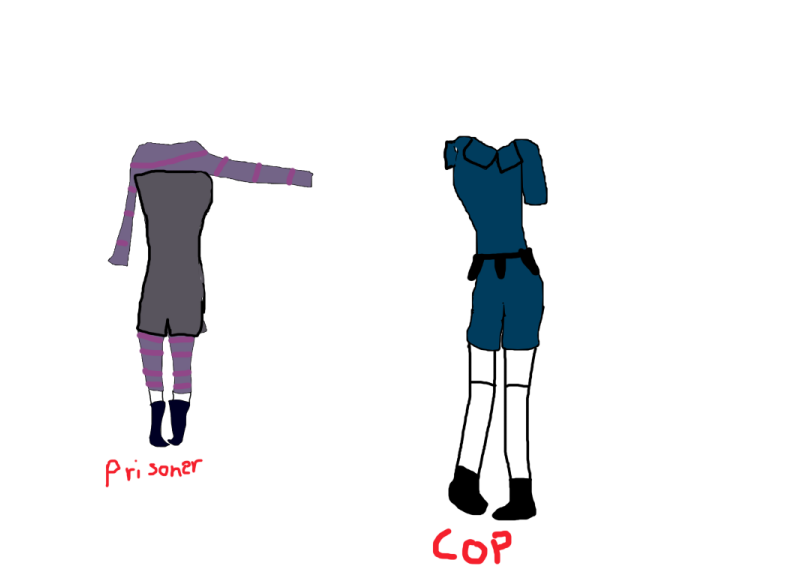 Jail of Ooo Cop and Prisoner uniforms ( Female ) by AskTorchTheFlameMaid