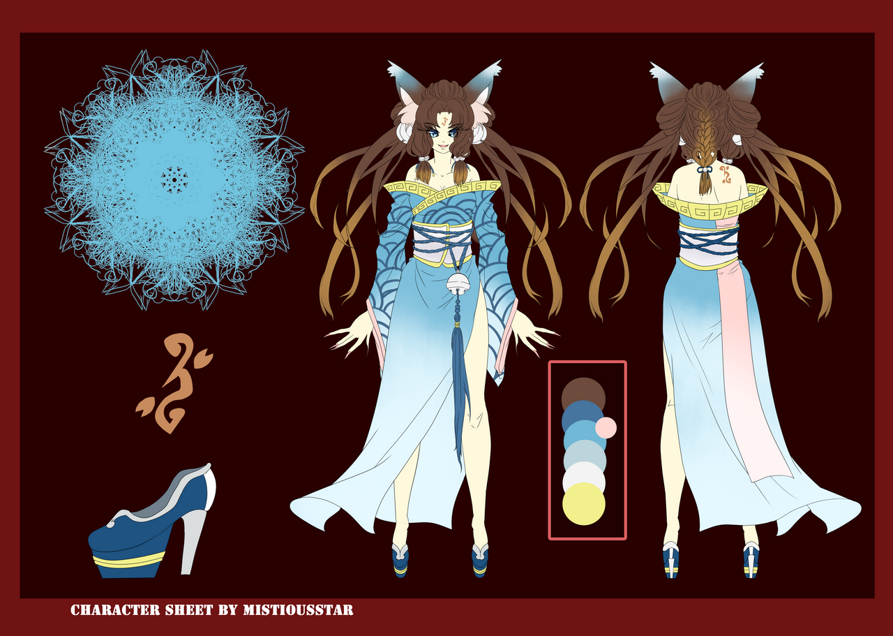 Okami-chan Character sheet commission by MistiousStar