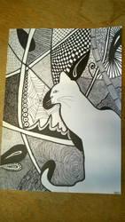 Drawn White Zentangle Cat by rake0062