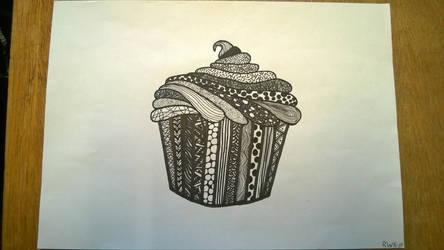 Drawn Zentangle Cupcake by rake0062