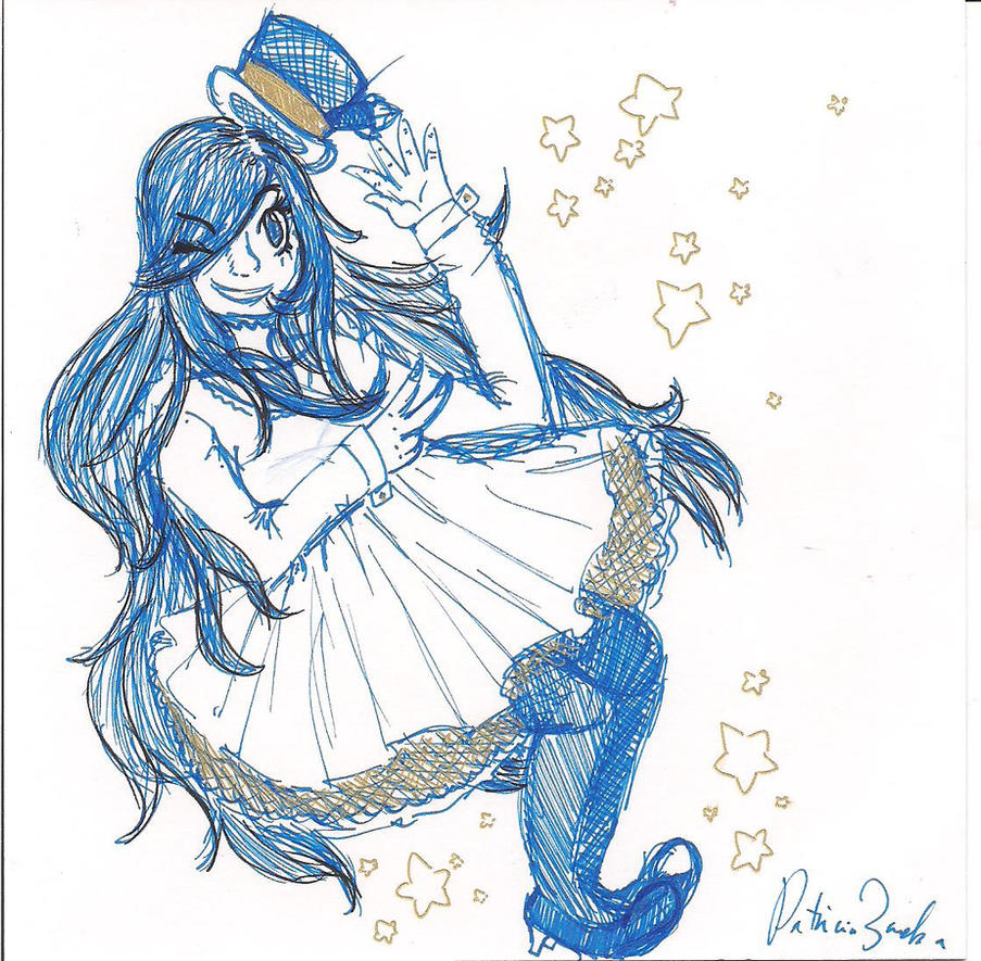 Melody-  Blue and Gold Pen Pratice by pzab7022