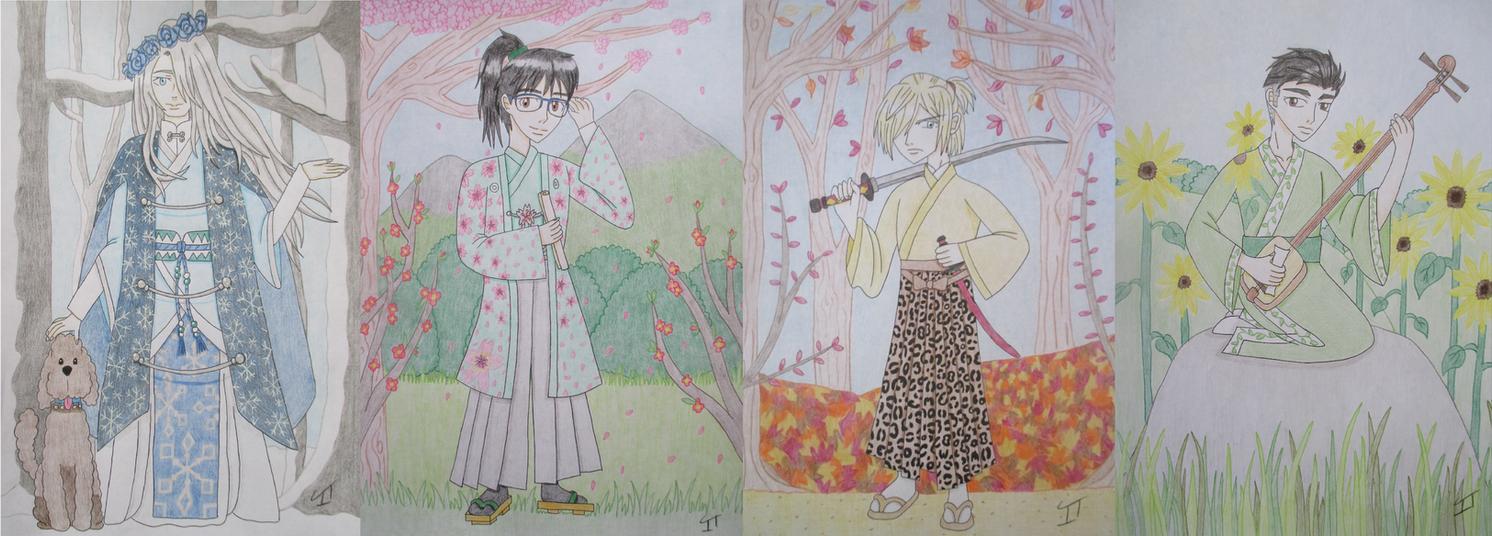 Yuri On Ice Fan Art Seasons - COMPLETE SET by Quina-chan