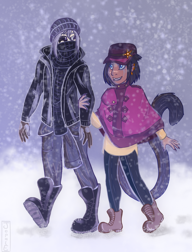 Kione and Serren take a walk in the Snow by Jopale-Opal