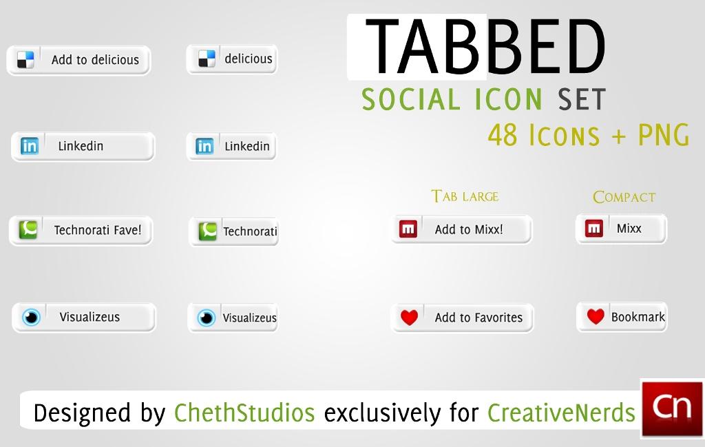 Tabbed Social Media Icon Set by cheth