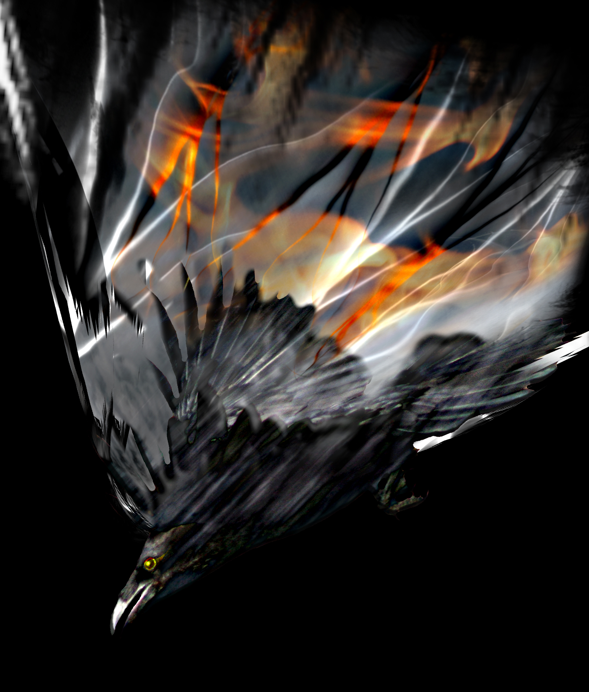 A raven in bouquet of fire by jackodeco