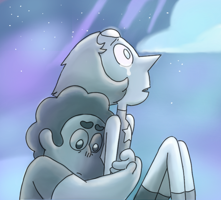 I used the picture with steven and pearl from rose's scabbard, but the color scheme and backround is changed, and I did not just change the color on the original picture, I used my own shading tech...