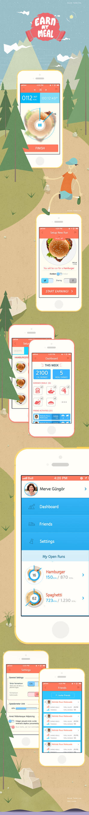 'Earn My Meal' iPhone App UI Design by GoldenBugSpread