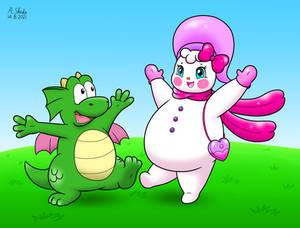 Dragon and Snowgirl Friendship