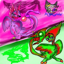 Sparrow and Cnder as gem dancers by AngelCnderDream14