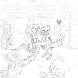 Ak'ta X Silvertail fan ship Sketch by AngelCnderDream14