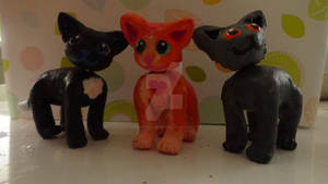 Ravenpaw, Firepaw, and Greypaw Clay Figurines!!