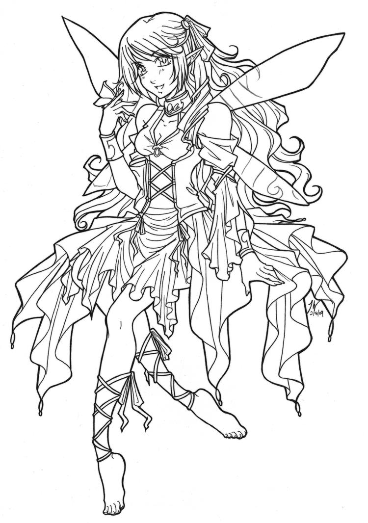 Fairy lineart by reyn celandine on deviantart for Fairy and dragon coloring pages