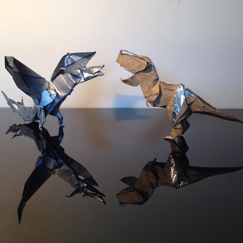 origami fiery dragon vs trex shaunlergracie by