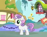 Sweetie Belle wearing Applejack's hat