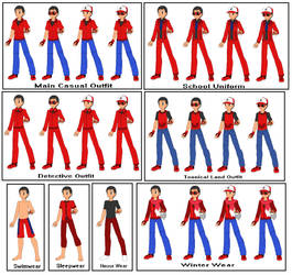 Neros's outfits in Detective Pikachu: Case Closed