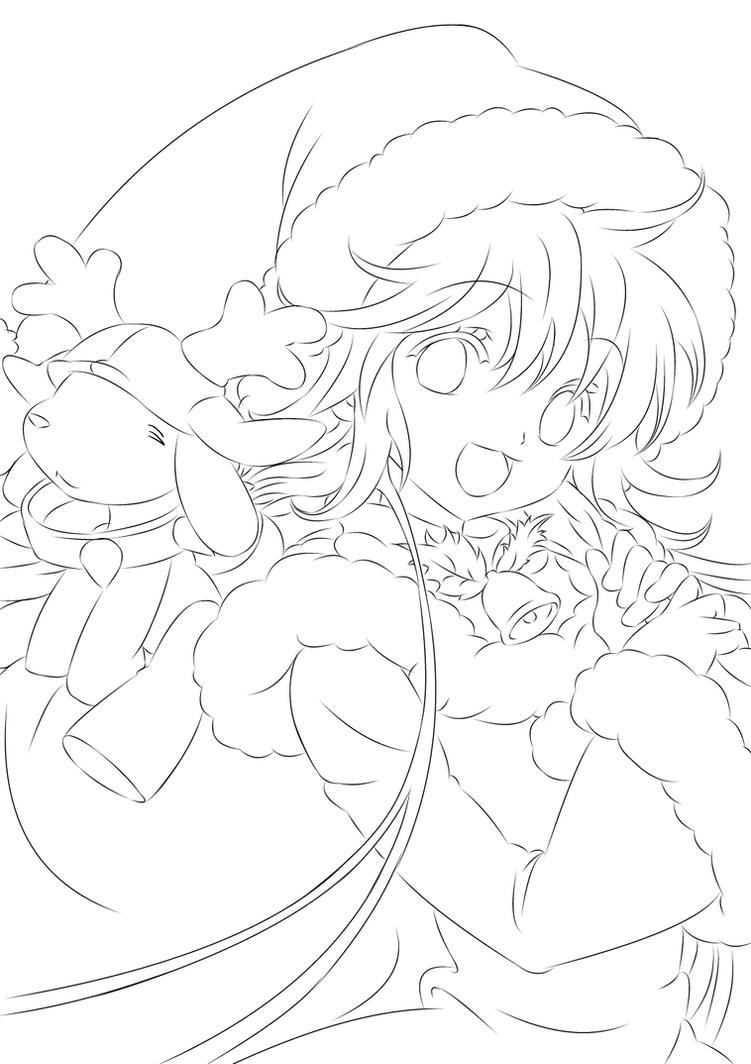 Line Drawing Christmas : Christmas lineart by moonlight kaon on deviantart