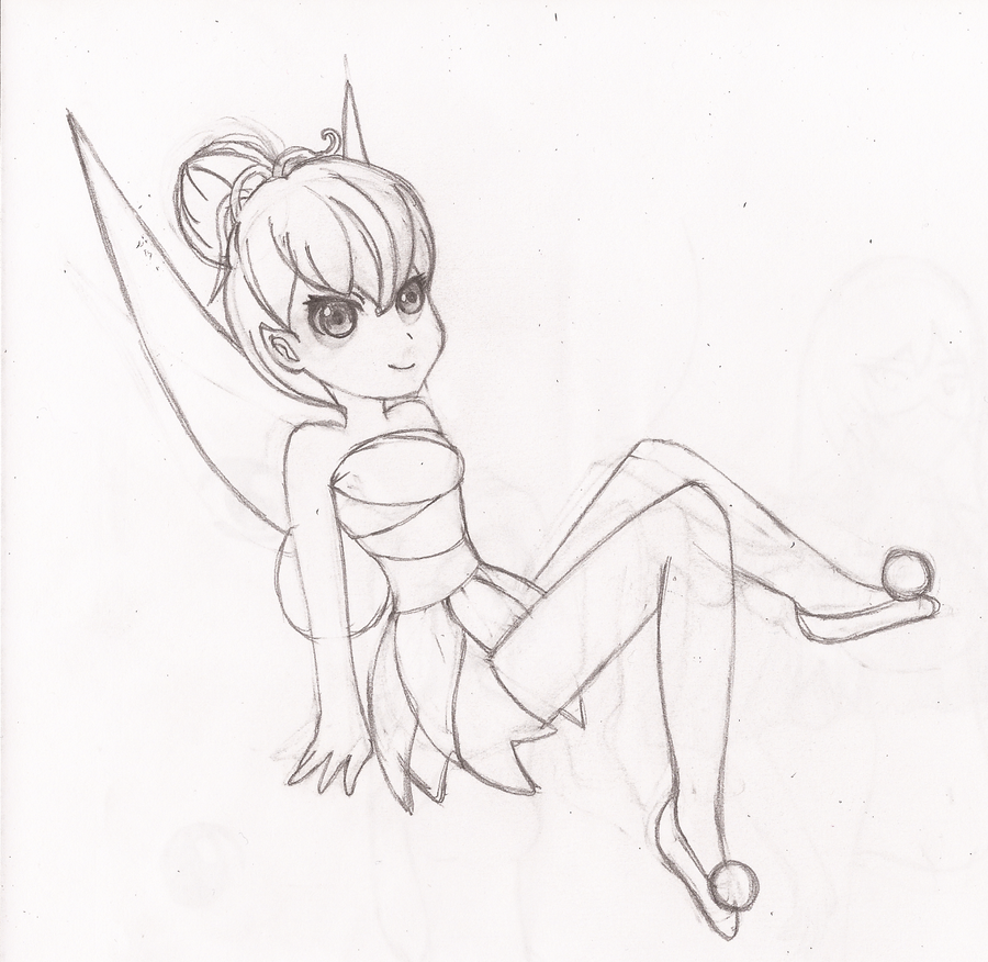 Tinkerbell Tumblr Drawing Tinkerbell Sketch Drawing
