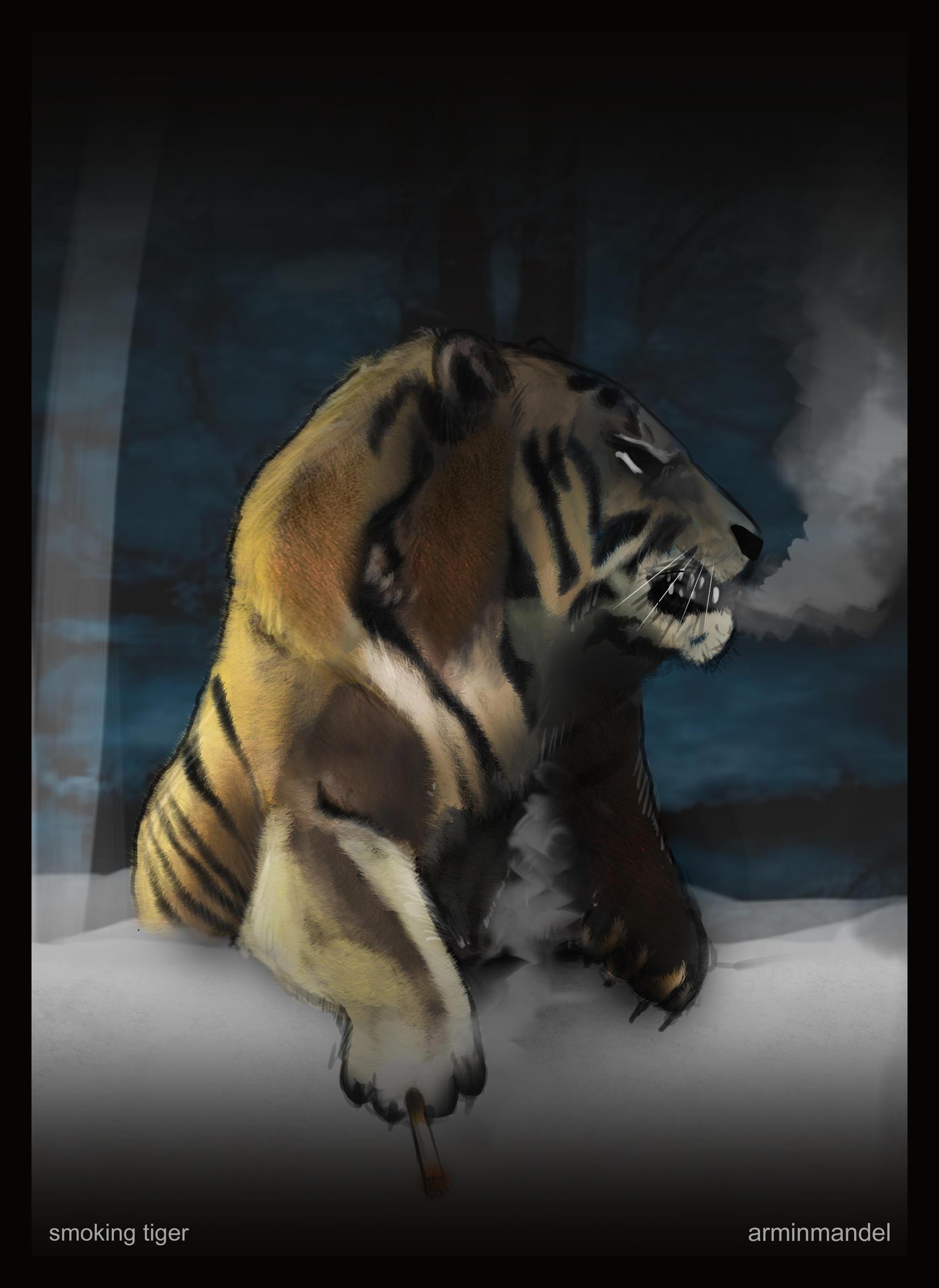 Smoking tiger by AzArm222