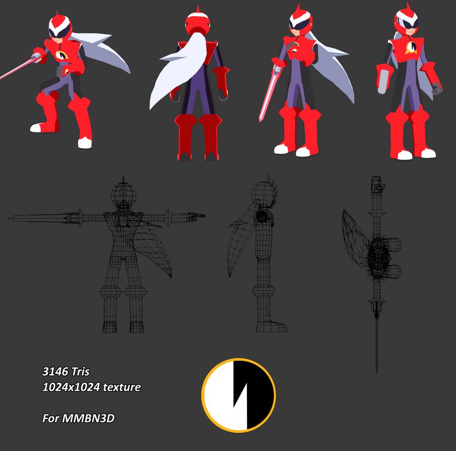 Mega Man Battle Network - Proto Man EXE [3D] by HeatPhoenix