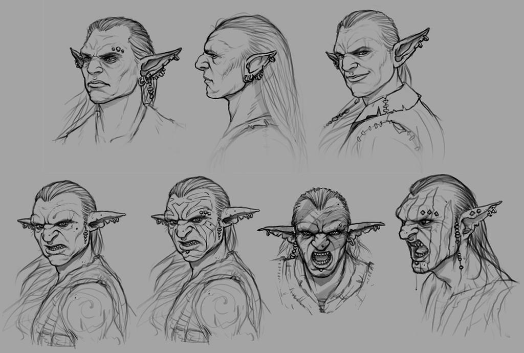 Goblin Head Sketches by PRDart