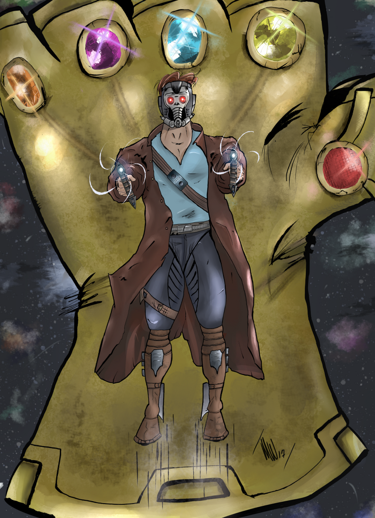 Star-Lord and Infinity Gauntlet Digi Color by mwehner