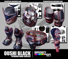 Kyuranger : Oushi Black Pepakura Foam Template by Constrictorz