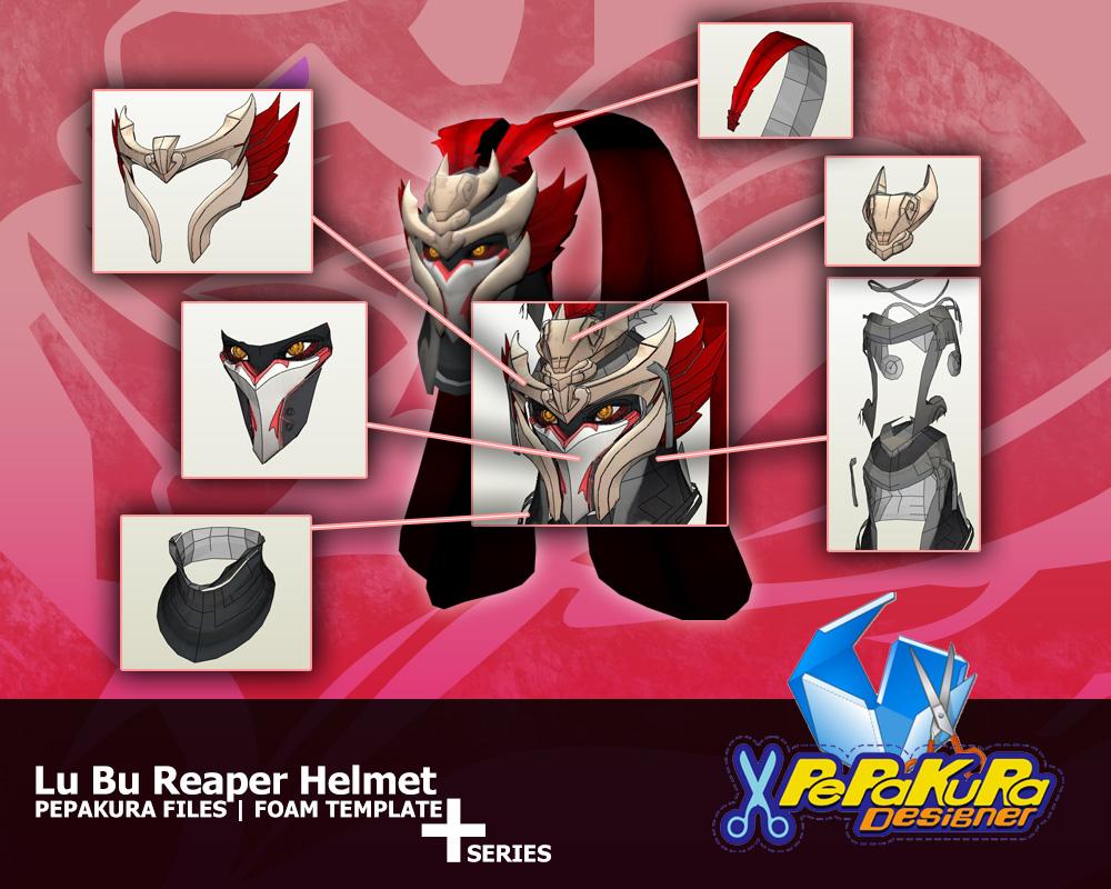 Lu Bu Reaper Helmet Pepakura Foam Template by Constrictorz